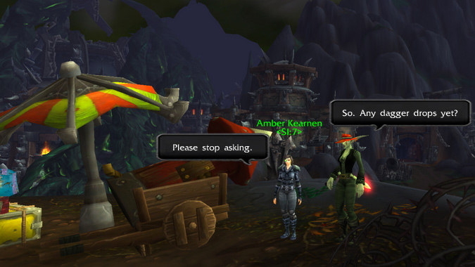 Don't ask a rogue if their daggers have dropped yet.