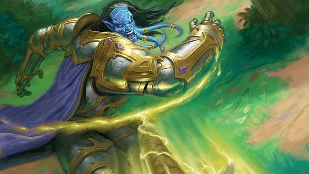 A draenei paladin hurls Holy Wrath at an enemy.