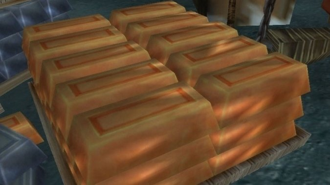A pallet of Copper Bars.