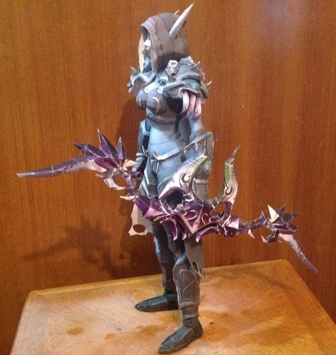 papercraft sylvanas with bow
