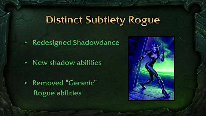 "BlizzCon slide on Subtlety ""distinct"" changes"