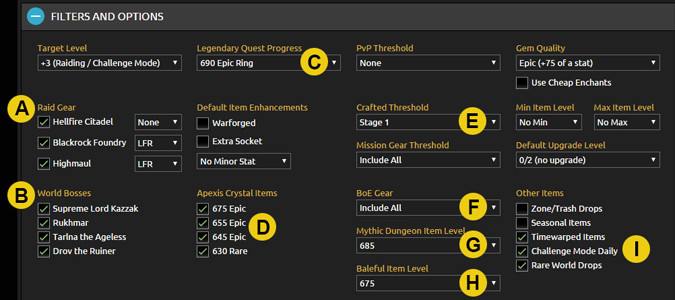 Gear Filters for WoD