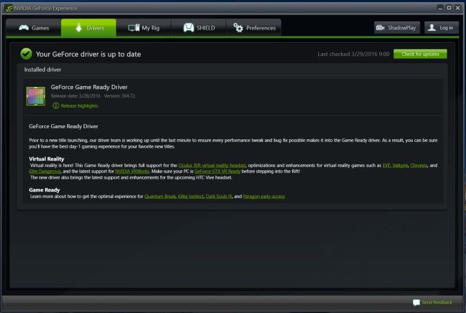 NVIDIA Driver Screen