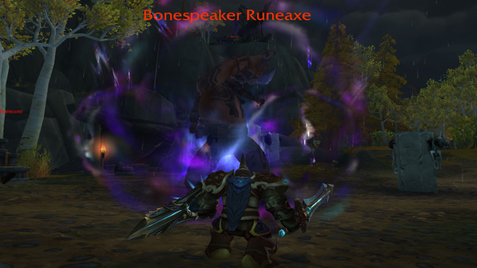 Paladin fighting a Bonespeaker Runeaxe