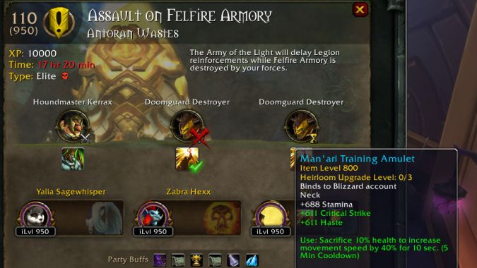 Latest WoW hotfixes target Lightforged missions