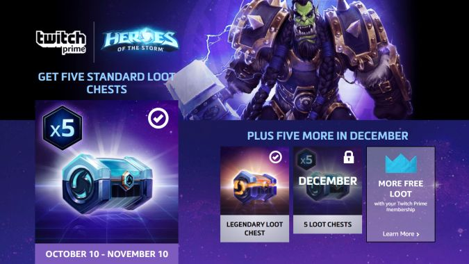 New Overwatch and Heroes loot is now available for Twitch Prime users