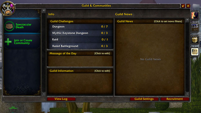 The updated WoW Guilds and Communities feature doesn't actually help