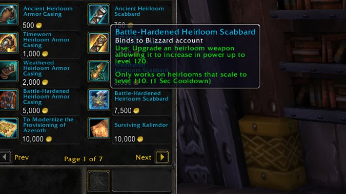Battle Hardened Heirloom Upgrades Boost Heirlooms To 120 In Patch 8 1 5 But They Aren T Cheap