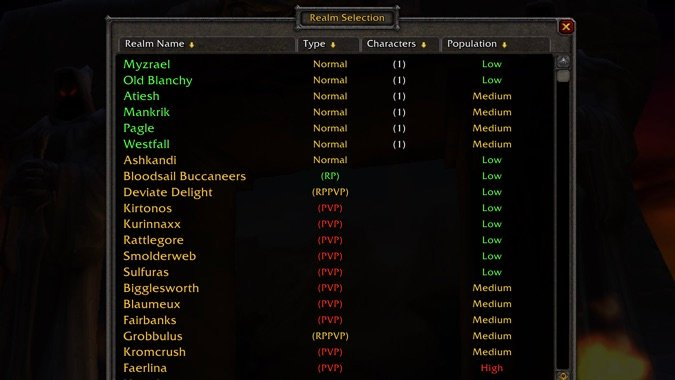 wow classic realm population